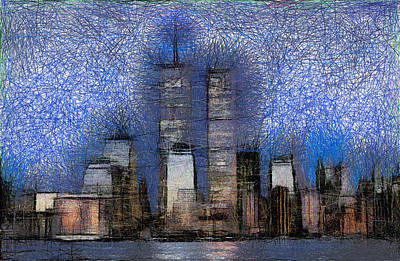 New York City Blue And White Skyline Art Print