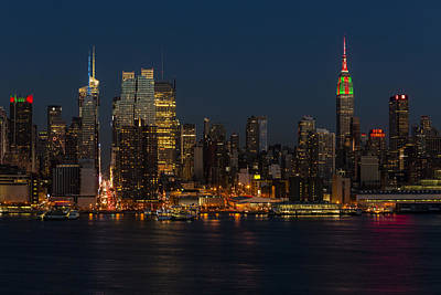 Skylines Royalty-Free and Rights-Managed Images - New York City Skyline In Christmas Colors by Susan Candelario