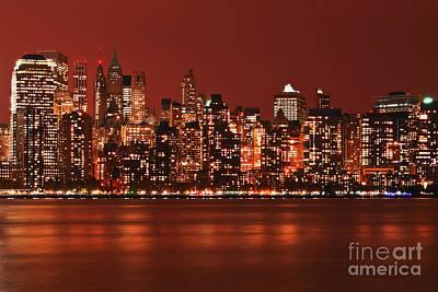 New York City Skyline In Red Art Print