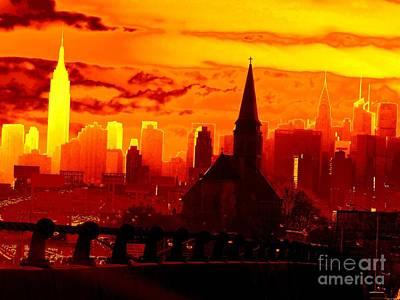 New York City Skyline Inferno Art Print by Ed Weidman