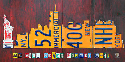 Central Park Mixed Media - New York City Skyline License Plate Art 911 Twin Towers Statue Of Liberty by Design Turnpike