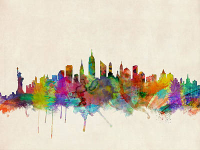 Watercolour Wall Art - Digital Art - New York City Skyline by Michael Tompsett