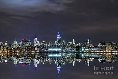 Statue Of Liberty At Night Photograph - New York City Skyline Night Usa by Sabine Jacobs