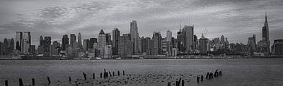 Photograph - New York City Skyline Panoramic Bw by Susan Candelario