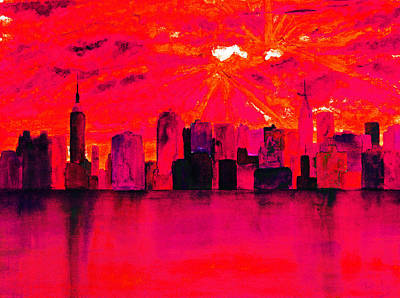 Queen City Skyline Painting - New York City Skyline Red by Ken Figurski