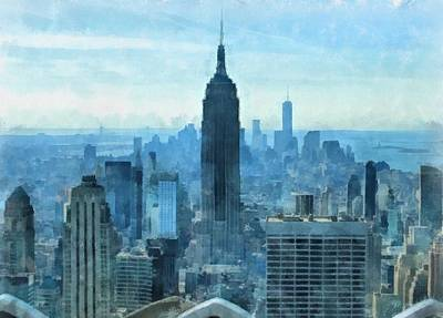 Empire State Building Mixed Media - New York City Skyline Summer Day by Dan Sproul