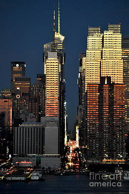 Photograph - New York City Skyline With 42nd Street Nighttime View by Kathy Flood