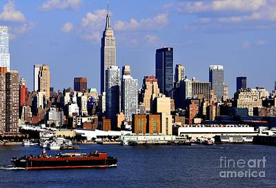New York City Skyline With Empire State And Red Boat Art Print by Kathy Flood