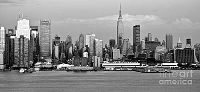Photograph - New York City Skyline With Empire State Black And White by Kathy Flood
