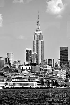 Photograph - New York City Skyline With Empire State Building Black And White by Kathy Flood