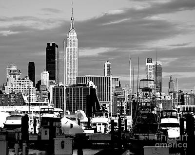 Photograph - New York City Skyline With Harbor Black And White by Kathy Flood