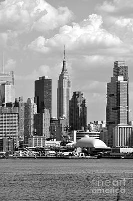 Photograph - New York City Skyline With Space Shuttle Dome And Empire State Building Black And White by Kathy Flood