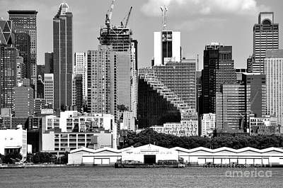 Photograph - New York City Skyline With Stair Building Black And White by Kathy Flood