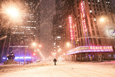 New York City - Snow And Empty Streets - Radio City Music Hall Art Print by Vivienne Gucwa