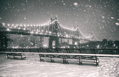 Snowstorm Photograph - New York City - Snow At Night - Sutton Place by Vivienne Gucwa