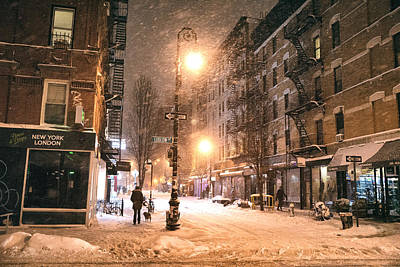 Manhattan At Night Photograph - New York City - Snow - Lower East Side by Vivienne Gucwa