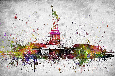 New York Harbor Drawing - New York City Statue Of Liberty by Aged Pixel