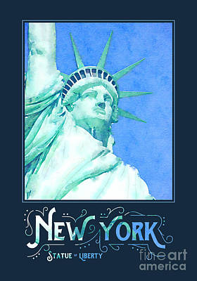 Liberty Island Digital Art - New York City Statue Of Liberty Digital Watercolor 1 by Beverly Claire Kaiya