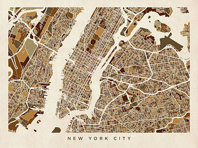 Broadway Digital Art - New York City Street Map by Michael Tompsett