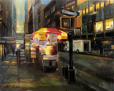Hot Dog Stand Painting - New York City Street Vendor by Hall Groat II