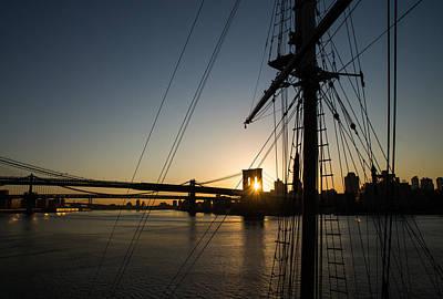 Photograph - New York City Sunrise - Tall Ships And Brooklyn Bridge by Georgia Mizuleva
