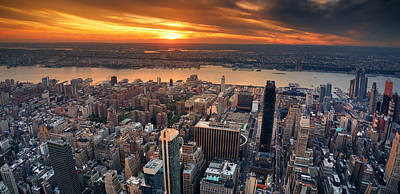 Photograph - New York City Sunset Panorama by Songquan Deng