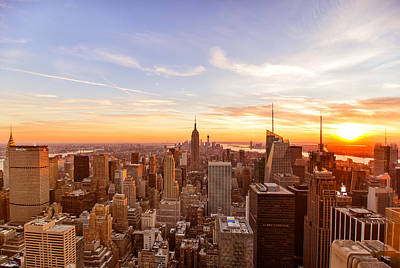 Sunset Landscape Wall Art - Photograph - New York City - Sunset Skyline by Vivienne Gucwa