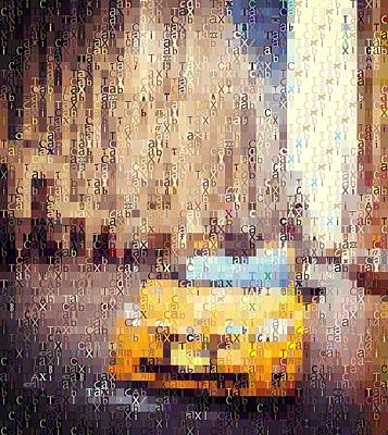 Crosswalk Digital Art - New York City Taxi Typography by Dan Sproul