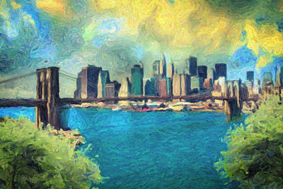 Skylines Paintings - New York City by Zapista Zapista