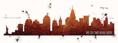 Nyc Skyline Painting - New York City That Never Sleeps by Anna Quach