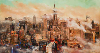 Empire State Building Painting - New York City Through The Clouds by Manit