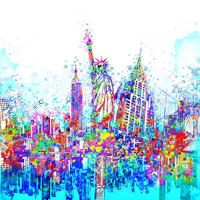 Painting - New York City Tribute 3 by Bekim Art