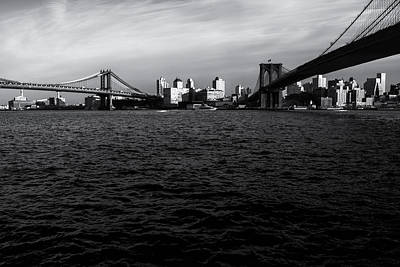 New York City Skyline Photograph - New York City - Two Bridges by Vivienne Gucwa