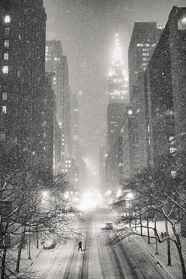 Times Square Photograph - New York City - Winter Night Overlooking The Chrysler Building by Vivienne Gucwa
