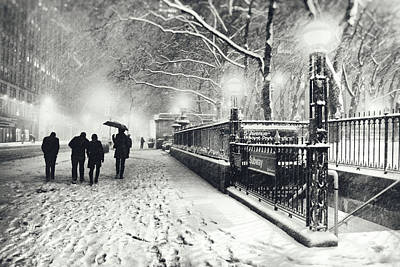 Bryant Park Photograph - New York City - Winter - Snow At Night by Vivienne Gucwa
