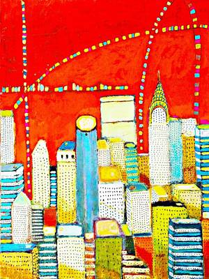 Chrysler Building Mixed Media - New York City With Red by Habib Ayat