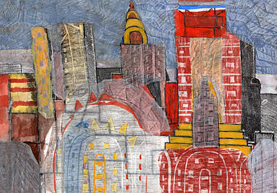 Chrysler Building Mixed Media - New York Cityscape by Melvyn Hardman