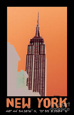 Skylines Mixed Media - New York Coordinates by Celestial Images