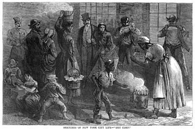 Corn Painting - New York Corn Vendor, 1868 by Granger