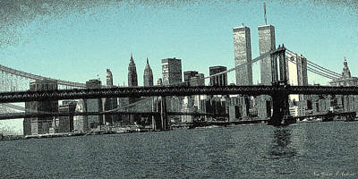 Drawing - New York Downtown Manhattan Skyline - Blue Panorama by Art America Gallery Peter Potter