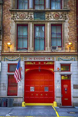 Red Doors Photograph - New York Fire Station by Garry Gay