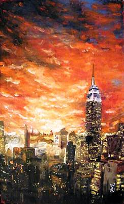Cloudy Day Painting - New York Firesky by Michael Leporati