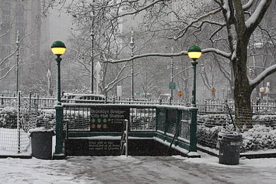 Photograph - New York First Snow by Vadim Levin