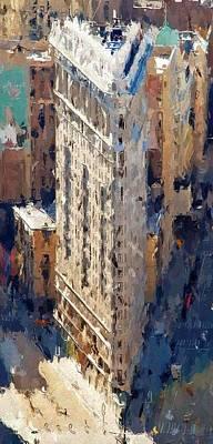 Skyscraper Mixed Media - New York Flatrion by Steve K