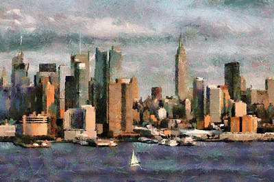 Painting - Cloudly Grey New York City by Georgi Dimitrov