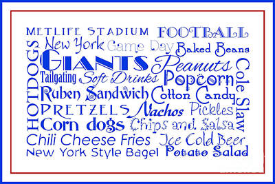 Digital Art - New York Giants Game Day Food 3 by Andee Design