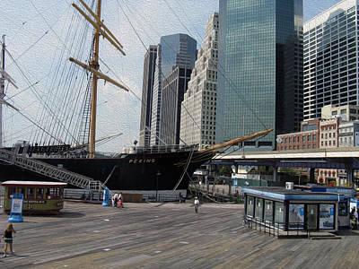 Manipulation Photograph - New York Harbor - Revisited - Digital Painting Effect by Rhonda Barrett