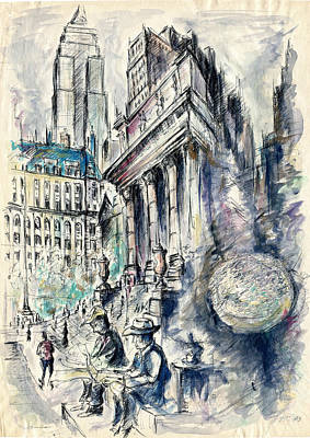 Painting - New York City Impression - Watercolor by Peter Potter