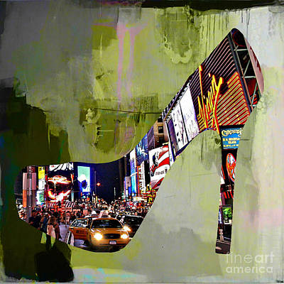 New York Map Mixed Media - New York In A Shoe by Marvin Blaine
