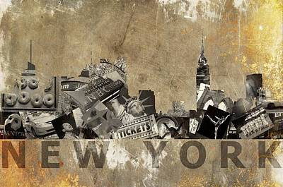 New York City Grunge Art Print by Suzanne Powers